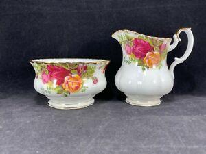 Royal-Albert-England-Old-Country-Roses-Open-Sugar-Bowl-amp-Creamer