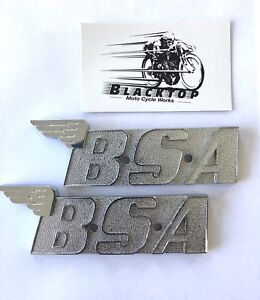 BSA-Tank-Badges-Pair-Oil-In-Frame-1970-1972-Chrome-Plated-Express-Post-60-2568