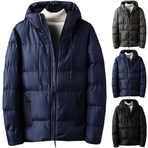 Mens Winter Warmer Hood Puffer Bubble Coat Quilted Padded Jacket Outdoor Outwear