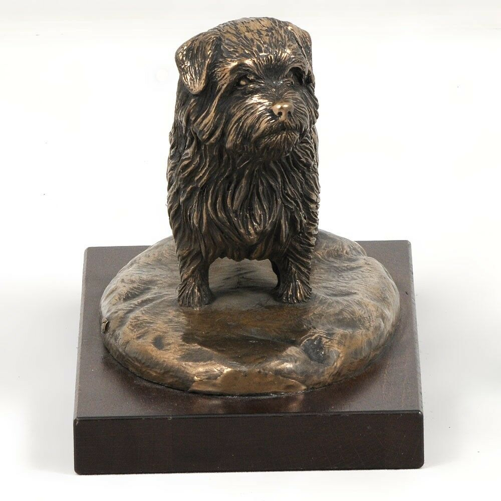 Norfolk Terrier  dog figurine on wooden base, high quality, Art Dog
