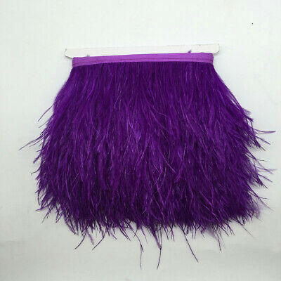 "4/""-6/"" Purple Ostrich Feather Fringe Trim Brooch//Fascinator Material 1Yard"