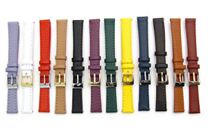 Ladies-Smooth-Stitched-Leather-Watch-Strap-C088-Lots-of-Colours-amp-Sizes