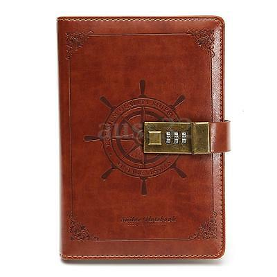 New Retro Note Book Brown Leather Journal Wired Diary with Password Code Lock B6