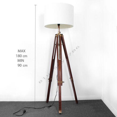 Teak Timber Nautical Tripod Floor Lamp Wood industrial table light home decor