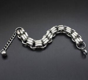 Men-Punk-Stainless-Steel-Chain-Link-Wristband-Clasp-Cuff-Unisex-Bangle-Bracelet