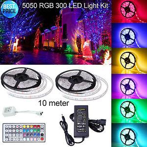 5M-SMD-RGB-5050-Waterproof-LED-Strip-light-300-44-Key-Remote-12V-Supply-Power