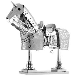 Fascinations-Metal-Earth-Knight-Horse-Armor-3D-Laser-Cut-Steel-Model-Kit-MMS143