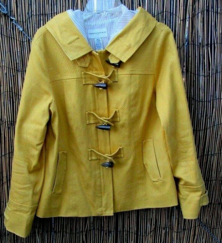 BANANA REPUBLIC Mustard Yellow Duffel Coat Lightw… - image 1