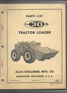 Details about Original 10-1965 Allis Chalmers TL30D Tractor Loader Parts  List Catalog 3033343