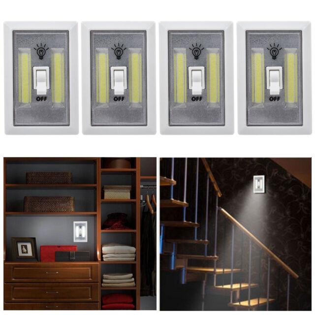 Ordinaire 4 X COB LED Wall Switch Wireless Battery Operated Closet Cordless Night  Light