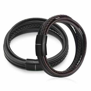 Men-039-s-Fashion-Multilayer-Braided-Leather-Bracelet-Jewelry-Black-Brown-Bangle