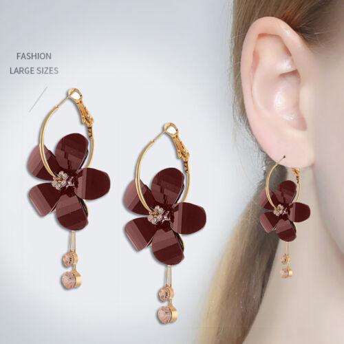Korean Elegant Glamour Camellia Fleur long Tassel Cristal Fête Boucles D/'oreilles Li