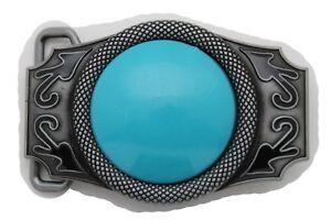 03e7972cf50 Homme Femme Western Mode Boucle Ceinture Argent Métal Bleu Turquoise ...
