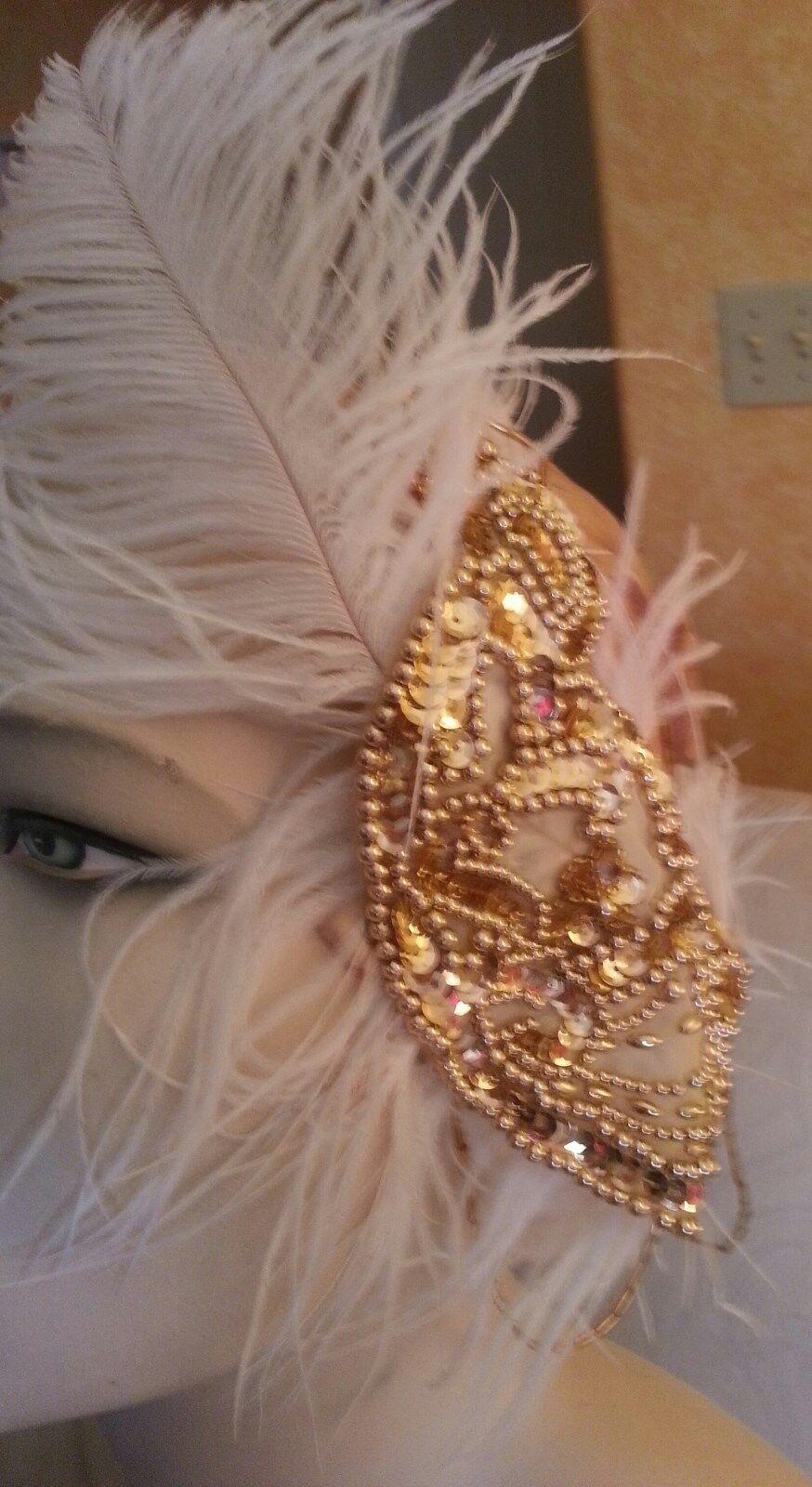 Gatsby Vintage Style Style Style Metallic gold Fox Cuffs Bridal Maxi Coat Dress Party Club 82e32f