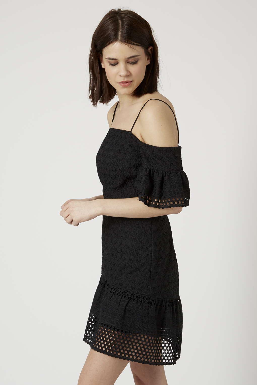 NWT Topshop Cold Shoulder Broderie Dress - - - Size 4 US e8eaca