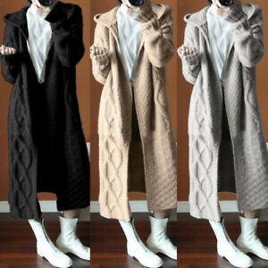 Women-Winter-Cable-Knitted-Jumper-Long-Cardigans-Coat-Pocket-Hooded-Sweater-NEW