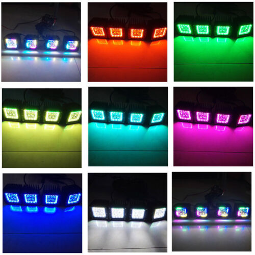 """Set 2//4//6 Pods Led Work Light 3X3/"""" Cube Pods Spot Flood with RGB Angel Halo Ring"""