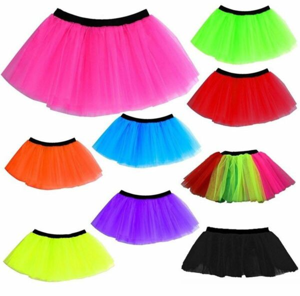 cb6c7f42f3 Hover to zoom · LADIES NEON TUTU SKIRT 3 LAYERS UV 1980S FANCY DRESS HEN  PARTY 80s COSTUME DANCE