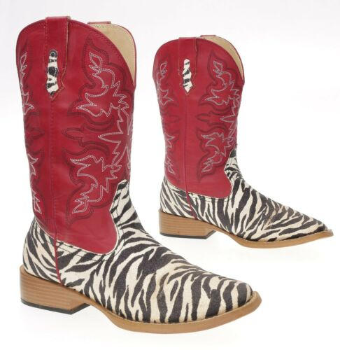 ROPER Cowboy Boots 8.5 M Womens Square Toe Zebra P