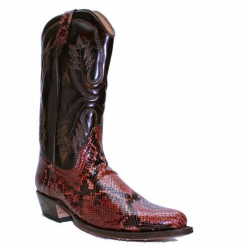 LOBLAN 263 Men/'s Brown Leather Western Red Faux Snakeskin Snip Toe Cowboy Boots