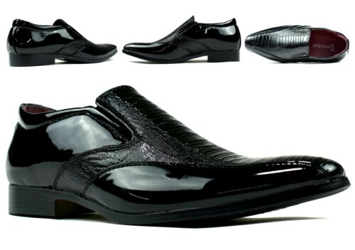 Casual Pointed Toe School//Wedding Boys Slip On Shoes UK Size NEW PATENT LOOK
