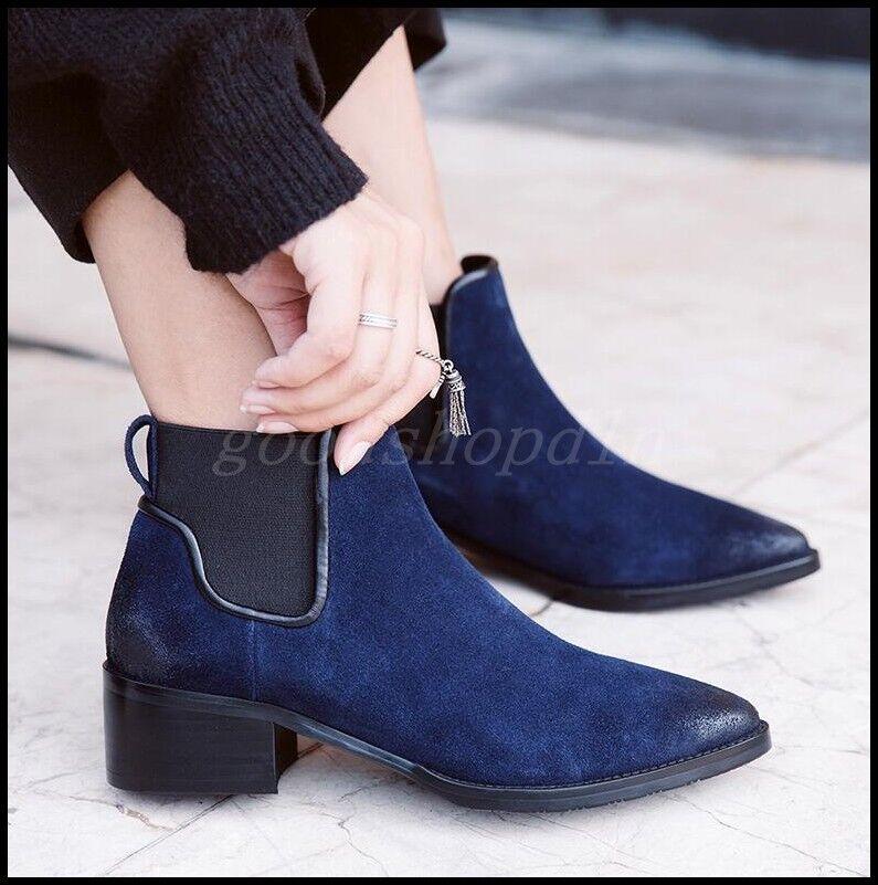 Vintage Mujeres De Cuero De Gamuza Puntera Puntiaguda Chelsea botas al Tobillo Zapatos Taco de Bloque de medio