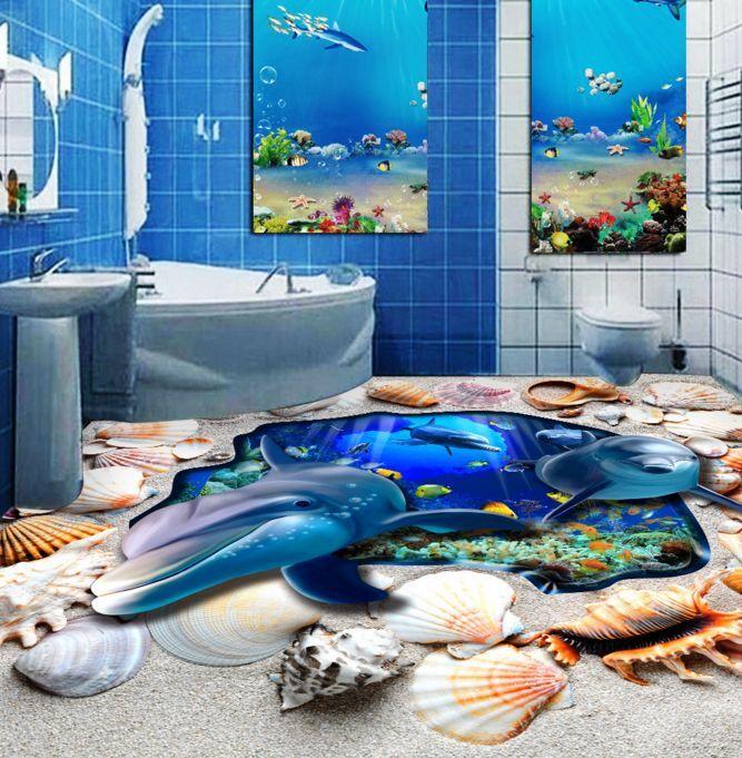 3D delfino Crostaceo Pavimento Foto Wallpaper Murales Muro Stampa Decalcomania