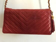 CHANEL VINTAGE CHEVRON RED WALLET ON CHAIN FLAP BAG LAMB SKIN GOLD LEATHER CHAIN