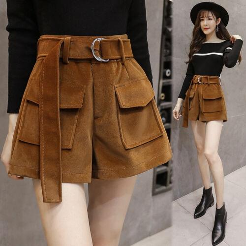 Women Korean Fashion Casual Loose High Waist Thick Outside Wear Woolen Shorts