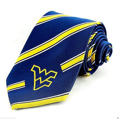 West Virginia Mountaineers Mens Necktie College University Stripe Blue Neck Tie