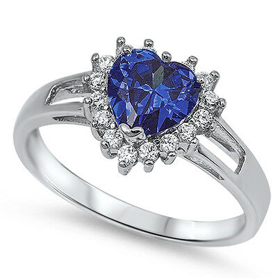 TOP SELLER! TANZANITE HEART & WHITE TOPAZ .925 STERLING SILVER RING