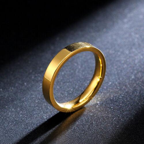 18K or poli bande 3 mm Femmes Hommes En Acier Inoxydable Bague de mariage Taille 4-11