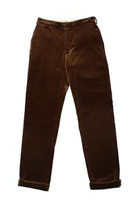 NWT-Monitaly-Flat-Front-Pants-Velour-Brown-Cotton-Water-Resistant-Made-In-USAW30