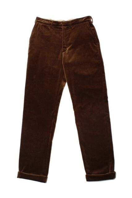 NWT Monitaly Flat Front Pants Velour Brown Cotton Water-Resistant Made In USAW30