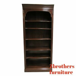 Ethan-Allen-Cherry-Georgian-Court-Chippendale-Book-Shelf-Display-Bookcase-B