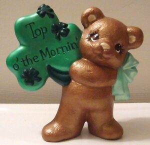 Shamrock Irish Greeting Teddy Bear Top O' the Morning Ceramic St. Patrick's Day