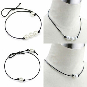 Women-Black-Leather-Cord-Single-Pearl-Pendant-Choker-Necklace-Jewelry