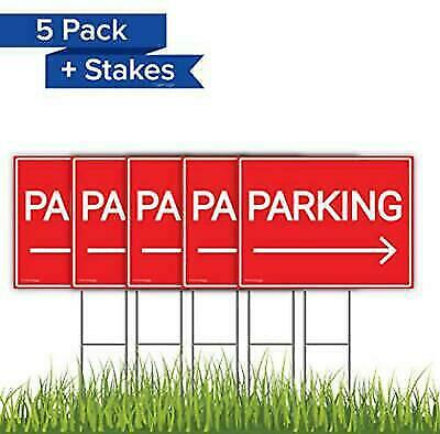 5 Pack Park Here with Arrow Yard Signs Bundle