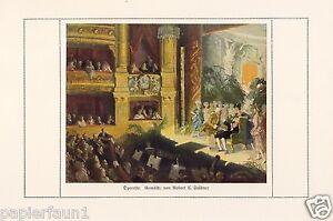 Operette Kunstdruck von 1921 Robert Emil Stübner Oper Loge Bühne Orchester print