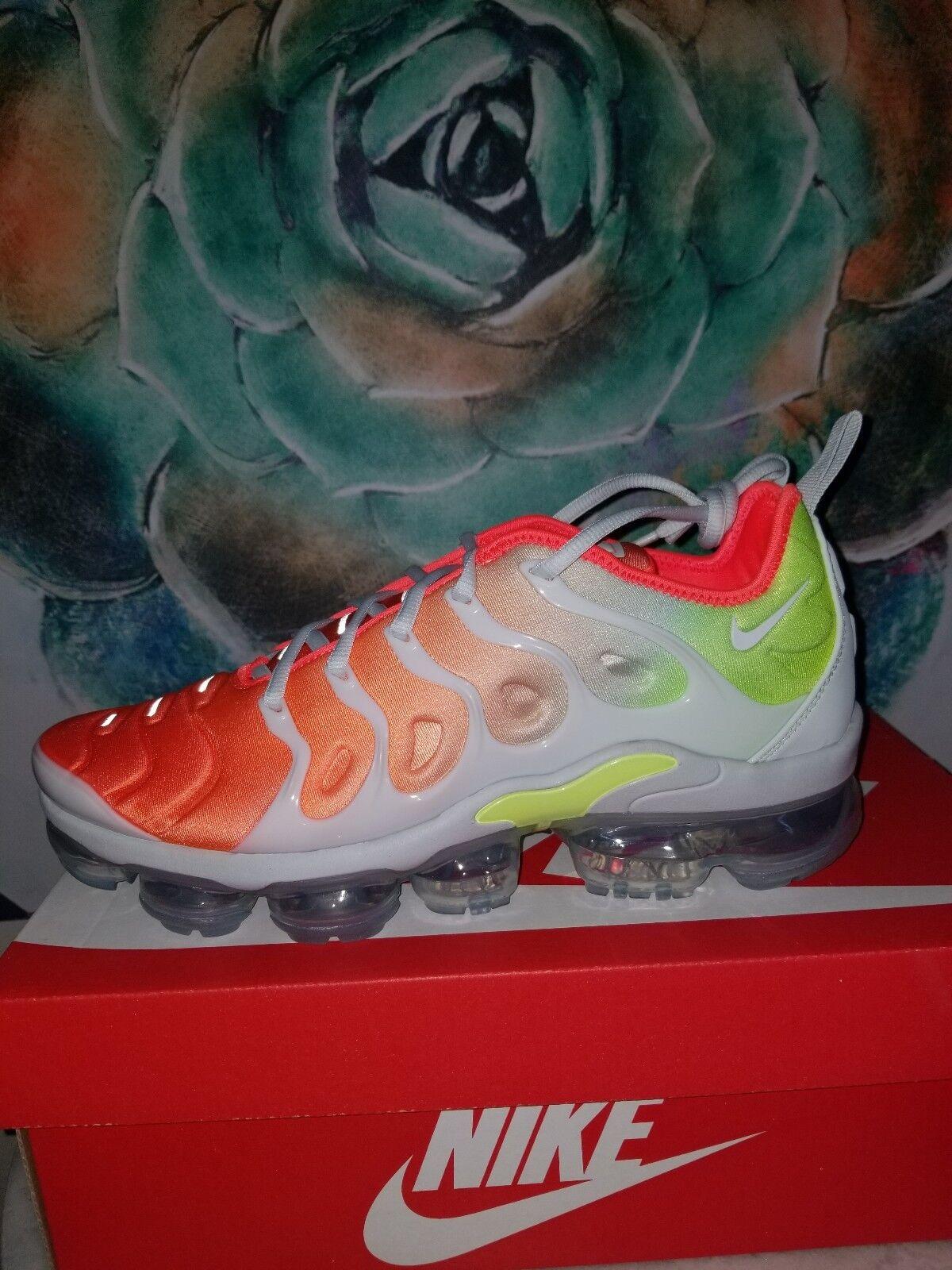 Nike air vapormax piu 'a malapena grey invertire w crimson taglia 10 volt neon sunset