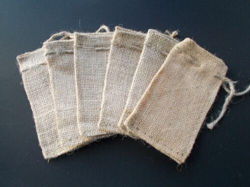 """25 Mini Burlap Bags Natural Jute Drawstring 2/"""" x 3/"""" Small Sack Favor Bag 2x3"""
