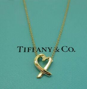 Tiffany co 18k gold paloma picasso loving heart pendant necklace image is loading tiffany amp co 18k gold paloma picasso loving aloadofball Gallery