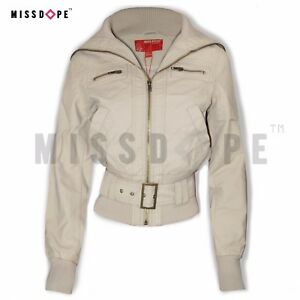 b820fd8bd NEW BEIGE WOMENS FAUX LEATHER JACKET BELTED MOTORCYCLE BIKER WINTER ...