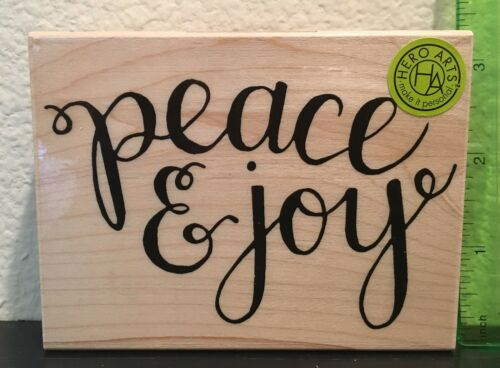 Hero Arts Peace /& Joy Wood Mounted Rubber Stamp K6104 Christmas Holidays