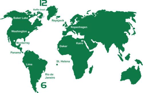 Wandtattoo Uhr XXL mit Uhrwerk für Wohnzimmer Weltkarte Städte Zahlen Wanduhr