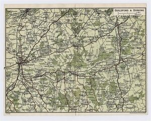 Guilford England Map.1924 Original Vintage Map Of Vicinity Of Guildford And Dorking