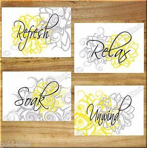 Yellow and gray wall art bathroom flower floral prints decor relax soak unwind ebay