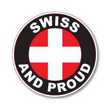 2 x SWISS AND PROUD- SWITZERLAND Flag Car Van vinyl Self Adhesive stickers