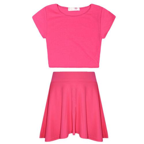 Ragazze Plain Crop Top /& Gonna Set Bambini Bambini 2 pezzi Abbigliamento Fashion 7-13 anni