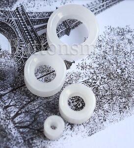 Pair-of-TUNNEL-White-Quartz-Organic-Stone-Plugs-ear-lobe-6mm-to-25mm-10-sizes